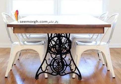 طراحی یک میز نهارخوری عالی با میزهای قدیمی چرخ خیاطی