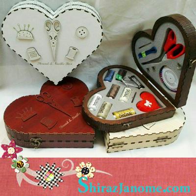 جعبه MDF نخ و سوزن و قیچی عروس طرح قلب