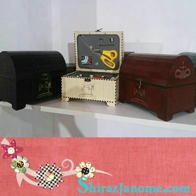 جعبه MDF نخ و سوزن و قیچی عروس صندوقچه ای