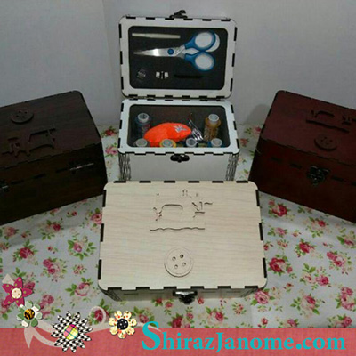 جعبه MDF نخ و سوزن و قیچی عروس مدل روناک
