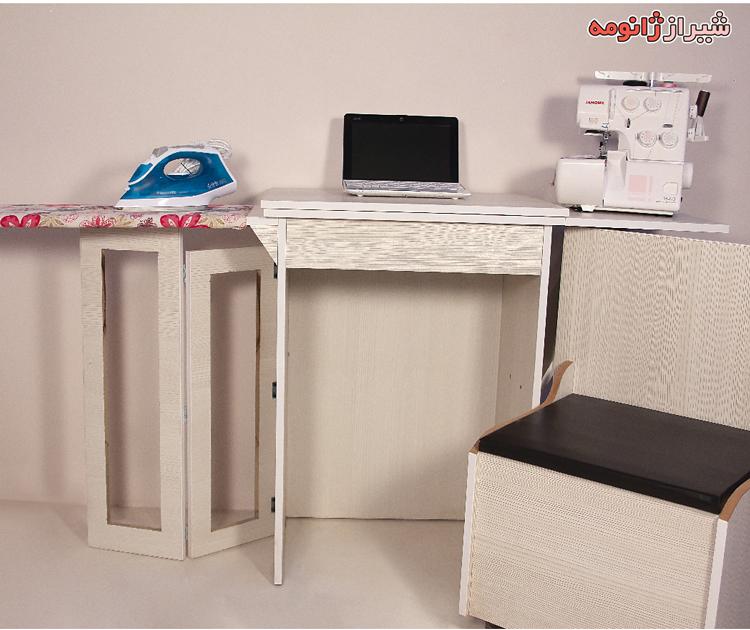 ميز تاشو سه کاره با صندلی چرخدار (میز چرخ خیاطی و اتو و مطالعه) جنس MDf هماريا ايراني