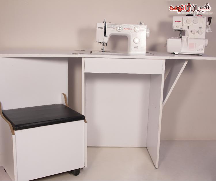 ميز تاشو سه کاره با صندلی چرخدار (میز چرخ خیاطی و سردوز و مطالعه) جنس MDf هماريا ايراني