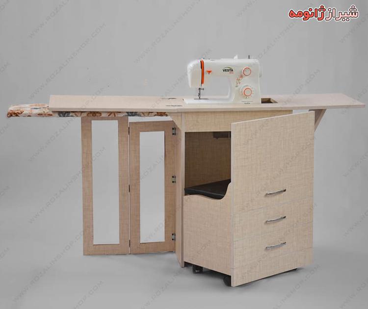 میز تاشو چهار کاره با صندلي چرخدار (میز چرخ خیاطی،سردوز، اتو و مطالعه) جنس MDF هماريا ايراني
